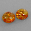 Amber Round Cabochon Pair