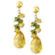Citrine & Peridot Gold Earrings